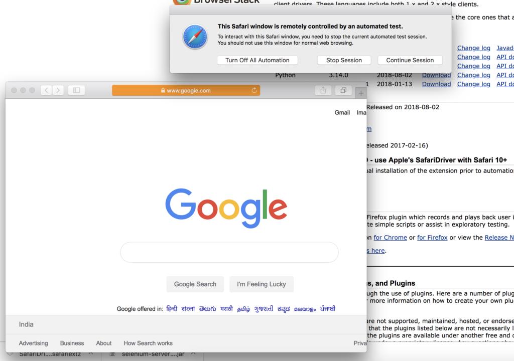 Safari browser controlled by selenium webdriver