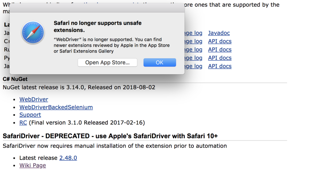Safari no longer supports unsafe extensions